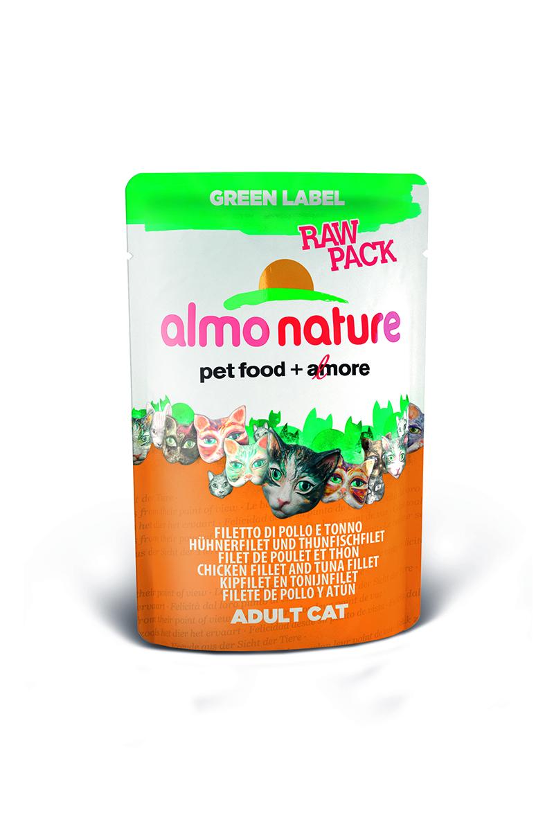 Консервы Almo Nature Green Label, с курицей и филе тунца, 55 г0120710Консервы Almo Nature Green Label - сбалансированный влажный корм для кошек. Корм изготовлен только из свежих натуральных ингредиентов. Супер-премиум корм с превосходным ароматом и восхитительным вкусом. Подходит для самых привередливых кошек. В состав линейки Green Label входит свежее филе мяса и рыбы качества Human Grade (пригодно в пищу для человека ), богатое полноценным белком и микроэлементами. Все это обеспечивает высокую питательную ценностьи здоровое развитие кошки. Содержание свежего мяса в каждом пакетике – не менее 75%!Состав: куриное филе 41%, филе тунца 34%, куриный бульон 24%, рис 1%. Пищевая ценность: белки 22%, клетчатка 0,2%, масла и жиры 1,3%, зола 2%, влажность 74%. Калорийность 910 ккал/кг.Товар сертифицирован.