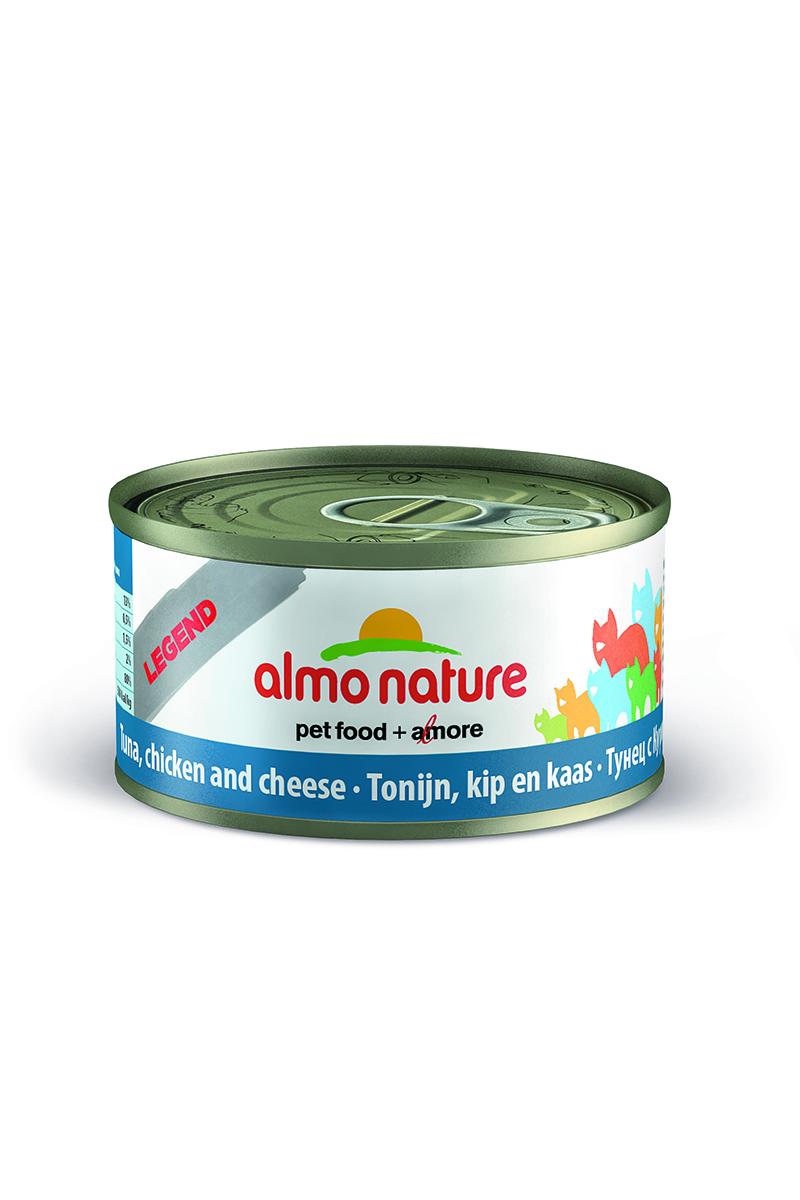 Консервы Almo Nature, для кошек с тунцом, курицей и сыром, 70 г0120710Консервы Almo Nature - супер-премиум корм для кошек, в банках, сохраняющих свежесть каждого кусочка. Корм изготовлен только из свежих высококачественных натуральных ингредиентов, что обеспечивает здоровье вашей кошки. Не содержит ГМО, антибиотиков, химических добавок, консервантов и красителей.Состав: тунец 35%, курица 35%, рыбный бульон 24%, сыр 5%, рис 1%.Пищевая ценность: белки 17%, клетчатка 0.1%, масла и жиры 2%, зола 3%, влажность 75%.Товар сертифицирован.
