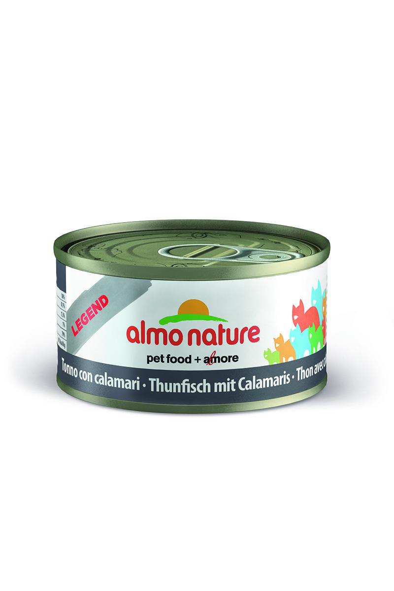 New Консервы для Кошек с Тунцом и Кальмарами (Legend Adult Cat Tuna&Squids), 70 г.101246Состав: тунец 70%, рыбный бульон 24%, кальмары 5%, рис 1%.Пищевая ценность: белки 17%, клетчатка 0,1%, масла и жиры 1,3%, зола 1%, влажность 79%.Калорийность: 672 ккал/кг.