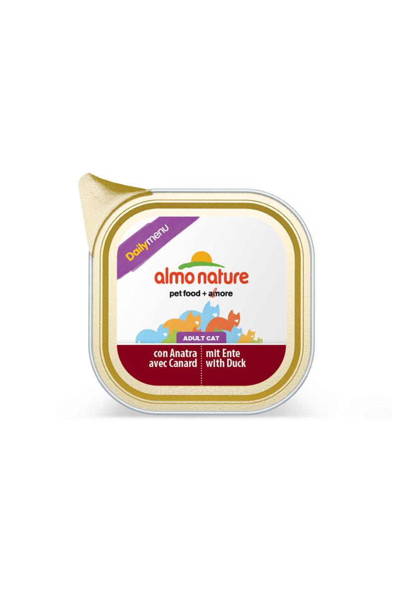 Консервы для кошек Almo Nature Daily Menu, паштет, с уткой, 100 г20039Консервы Almo Nature Daily Menu - сбалансированный влажный корм для кошек, изготовленный из ингредиентов высшего качества, являющихся натуральными источниками витаминов и питательных веществ. Состав: мясо и его производные (утка 4%), минералы. Добавки: витамин D3 - 218 МЕ/кг, витамин E - 125 мг/кг; камедь кассии - 2850 мг/кг. Пищевая ценность: белки - 9%, клетчатка - 0,8%, масла и жиры - 5%, зола - 3%, влажность - 82%. Калорийность: 818 ккал/кг.Товар сертифицирован.