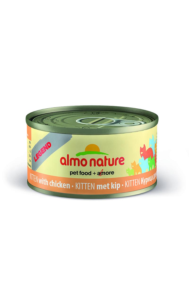 Консервы для котят Almo Nature Legend, с курицей, 70 г25000Консервы Almo Nature Legend - сбалансированный влажный корм для котят, изготовленный из ингредиентов высшего качества, являющихся натуральными источниками витаминов и питательных веществ. Консервы Almo Nature Legend изготавливаются по уникальной технологии, в процессе которой мясные ингредиенты упаковываются в свежем сыром виде, затем проходят термическую обработку прямо в упаковке, что позволяет сохранитьвсе питательные вещества и прекрасный вкус и аромат. Состав: мясо курицы 75%, куриный бульон 24%, рис 1%.Пищевая ценность: белки - 19%, клетчатка - 1%, жиры - 1%, зола - 2%, влажность - 78%. Калорийность: 750 ккал/кг.Товар сертифицирован.