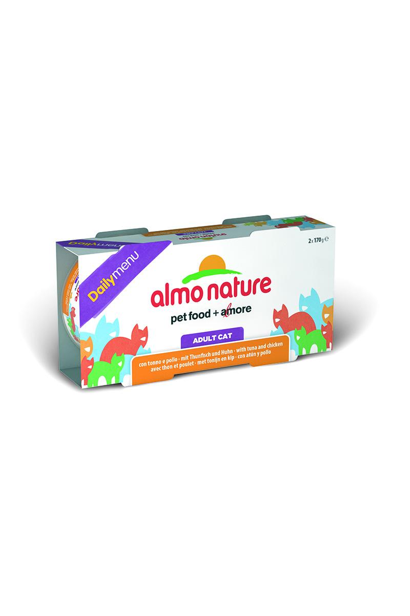 Консервы для кошек Almo Nature Daily menu, с тунцом и курицей, 170 г х 2 шт0120710Консервы Almo Nature Daily Menu - это супер-премиум корм для кошек в банке с ключом, которая сохраняет свежесть каждого кусочка. Корм изготовлен только из свежих высококачественных натуральных ингредиентов, что обеспечивает здоровье вашей кошки. Не содержит химических, или каких-либо других искусственных ингредиентов.Состав: тунец - 31%, курица - 30%, рис - 5%.Пищевые добавки: витамин А - 107,33 МЕ/кг, витамин Е - 9,8 мг/кг.Технологические добавки: экстракт кассия - 2450 мг/кг.Гарантированный анализ: белки -13%, клетчатка – 0,1%, жиры – 6%, зола – 2%, влага – 75%.Товар сертифицирован.