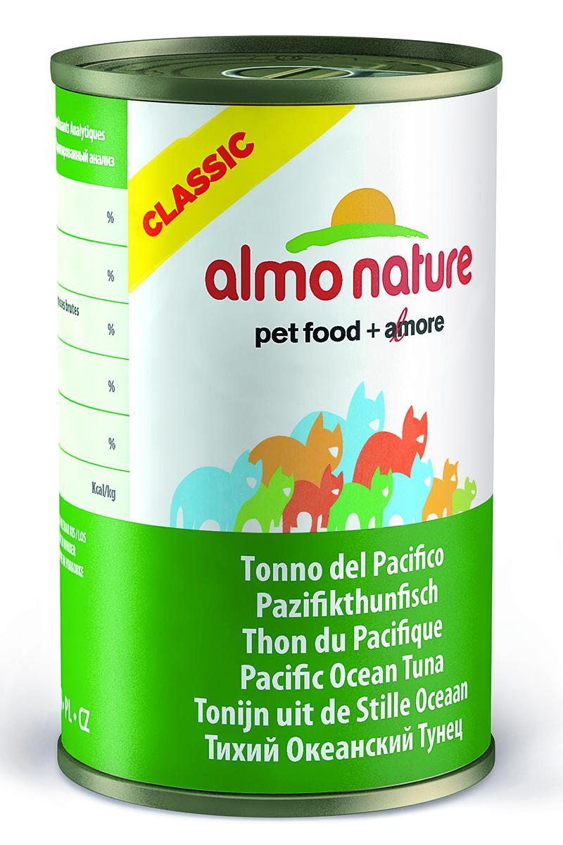 Консервы для кошек Almo Natureс Classic, с тихоокеанским тунцом, 140 г0120710Консервы Almo Nature Classic - сбалансированный влажный корм для кошек, изготовленный из ингредиентов высшего качества, являющихся натуральными источниками витаминов и питательных веществ. Состав: тихоокеанский тунец – 55%, рыбный бульон – 24%, рис – 1%.Гарантированный анализ: белки – 20%, клетчатка – 0,1%, жиры – 0,5%, зола – 2%, влажность – 77%.Калорийность - 742 ккал/кг.Товар сертифицирован.