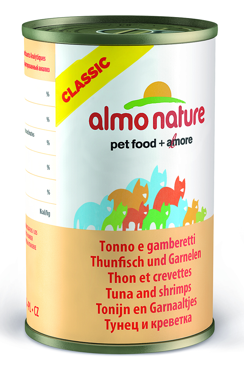 Консервы для кошек Almo Nature Classic, с тунцом и креветками, 140 г25043Консервы Almo Nature Classic - это супер-премиум корм для кошек в банке с ключом, которая сохраняет свежесть каждого кусочка. Корм изготовлен только из свежих высококачественных натуральных ингредиентов, что обеспечивает здоровье вашей кошки. Не содержит ГМО, антибиотиков, химических добавок, консервантов и красителей.Товар сертифицирован.