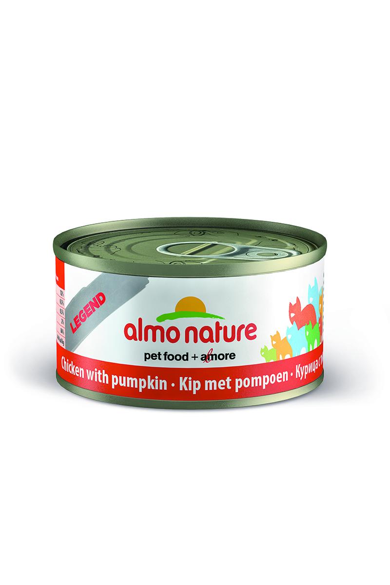 Консервы для кошек Almo Nature Legend, с курицей и тыквой, 70 г0120710Консервы Almo Nature Legend - это супер-премиум корм для кошек в банке с ключом, которая сохраняет свежесть каждого кусочка. Корм изготовлен только из свежих высококачественных натуральных ингредиентов, что обеспечивает здоровье вашей кошки. Не содержит ГМО, антибиотиков, химических добавок, консервантов и красителей.Состав: куриная грудка 70%, тыква 5%, куриный бульон 24%, рис 1%.Гарантированный анализ: белки - 16%, клетчатка - 1%, жиры - 0,5%, зола - 3%, влажность - 82%.Товар сертифицирован.