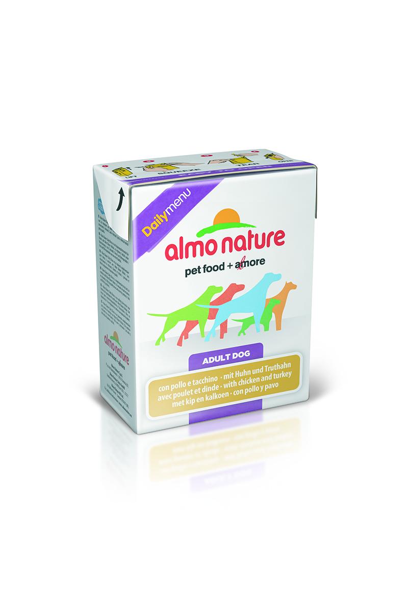 Консервы для собак Almo Nature Daily Menu, с курицей и индейкой, 375 г0120710Almo Nature Daily Menu - это повседневный консервированный корм для собак, приготовленный из натуральных ингредиентов самого высокого качества и содержащий витамины и минералы.Не содержит гормоны, антибиотики, искусственные красители, ароматизаторы, консерванты, ГМО.Состав: мясо и его производные (курица – 43,5%, индейка – 4,1%), мясной бульон, рис – 9%, морковь – 1,6%, зеленый горошек – 1,6%, витамин Е – 33мг/кг.Гарантированный анализ: белки – 7%, клетчатка – 0,33%, жиры – 6%, зола – 1%, влажность – 84%.Калорийность – 1710 ккал/кг.Товар сертифицирован.