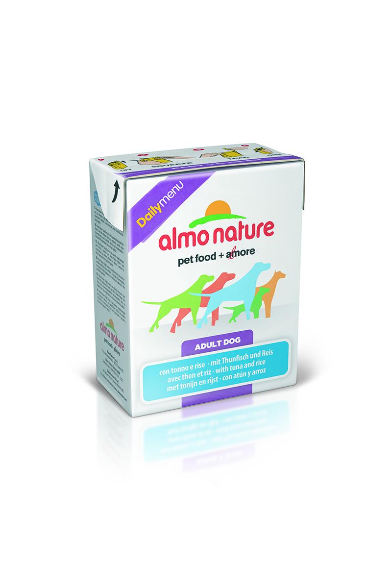 Консервы для собак Almo Nature Daily Menu, с тунцом и рисом, 375 г10158Almo Nature Daily Menu - это повседневный консервированный корм для собак, приготовленный из натуральных ингредиентов самого высокого качества и содержащий витамины и минералы.Не содержит гормоны, антибиотики, искусственные красители, ароматизаторы, консерванты, ГМО.Состав: курица и ее производные (курица – 39%), рыба и ее производные (тунец - 15%), натуральный бульон, рис – 3,7%, витамин Е – 33 мг/кг.Гарантированный анализ: белки – 10%, клетчатка – 0,2%, жиры – 5%, зола – 2%, влажность – 78%.Товар сертифицирован.