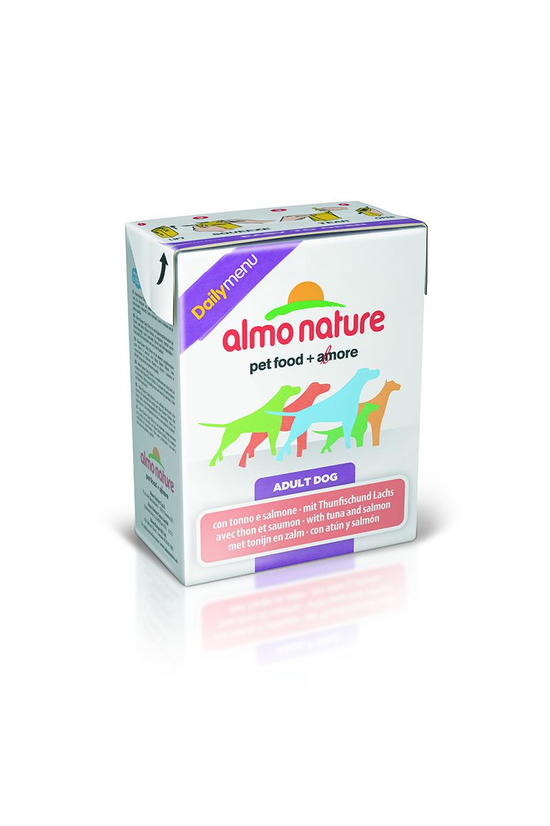 Консервы для собак Almo Nature Daily Menu, с тунцом и лососем, 375 г10159Almo Nature Daily Menu - это повседневный консервированный корм для собак, приготовленный из натуральных ингредиентов самого высокого качества и содержащий витамины и минералы.Не содержит гормоны, антибиотики, искусственные красители, ароматизаторы, консерванты, ГМО.Состав: курица и ее производные (курица - 31%), рыба и ее производные (тунец – 15%, лосось – 4%), натуральный бульон, рис – 3,7%, морковь – 2,3%, зеленый горошек – 1,6%, витамин Е – 33 мг/кг. Гарантированный анализ: белки – 9%, клетчатка – 0,2%, жиры – 5%, зола – 2,5%, влажность – 79%.Товар сертифицирован.