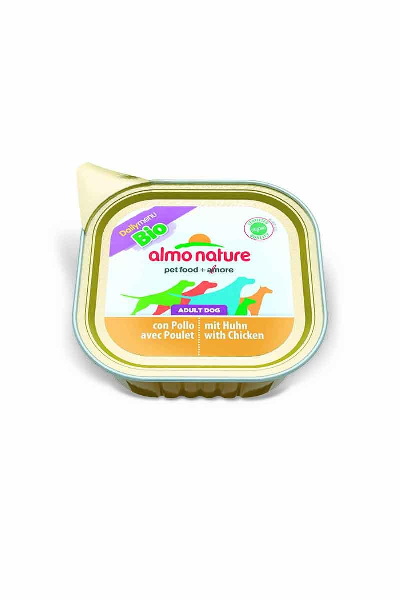 Паштет для собак Almo Nature Daily Menu. Bio, с курицей, 100 г0120710Паштет для собак Almo Nature Daily Menu. Bio изготовлены из отборных, гипоаллергенных и легко усвояемых ингредиентов. Содержат питательные, высококачественные продукты: подлинное мясо свободного выгула - без гормонов и антибиотиков.Состав: мясо и его производные, минеральные вещества, витамин Е – 15 мг/кг, витамин D – 15 мкл/кг.Гарантированный анализ: белки – 10%, клетчатка – 0,3%, жиры – 5%, зола – 2%, влажность – 82%.Товар сертифицирован.