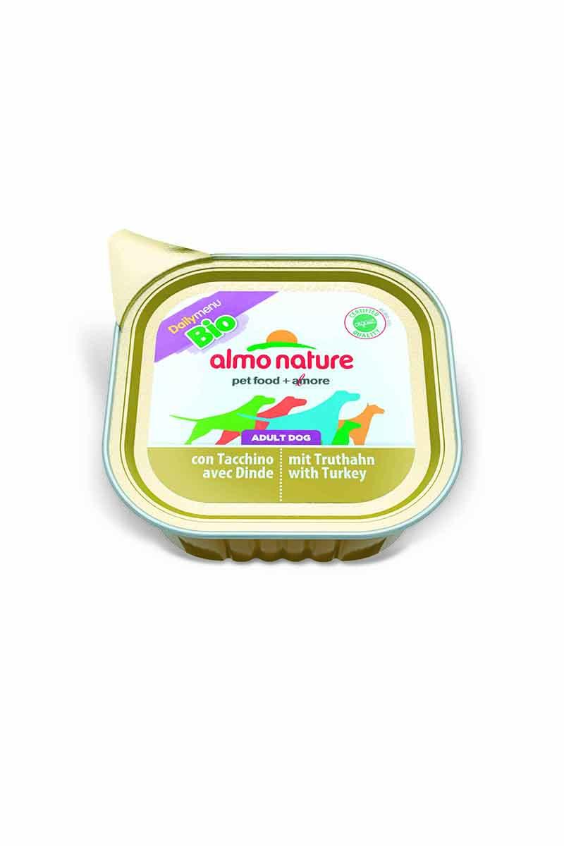 Консервы для собак Almo Nature Daily Menu. Bio, паштет, с индейкой, 100 г10171Консервы Almo Nature Daily Menu - сбалансированный влажный корм для собак, изготовленный из ингредиентов высшего качества, являющихся натуральными источниками витаминов ипитательных веществ. Состав: мясо и его производные, минеральные вещества. Добавки : витамин Е - 15мг/кг, витамин D - 15 мкл/кг. Пищевая ценность: белки - 10%, клетчатка - 0,3%, жиры - 5%, зола - 2%, влажность - 82%.Товар сертифицирован.