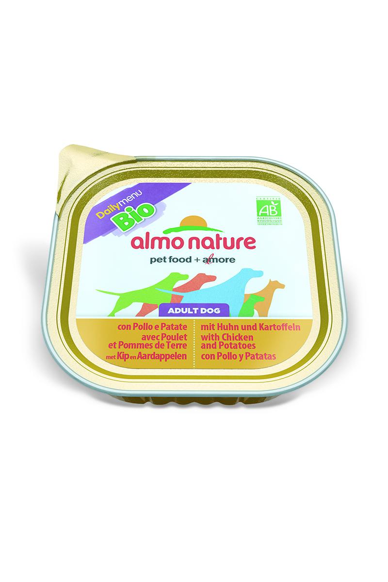 Паштет для собак Almo Nature Daily Menu. Bio, с курицей и картофелем, 300 г0120710Паштет для собак Almo Nature Daily Menu. Bio изготовлены из отборных, гипоаллергенных и легко усвояемых ингредиентов. Содержат питательные, высококачественные продукты: подлинное мясо свободного выгула - без гормонов и антибиотиков, а также овощи, произрастающие в экологически чистых условиях без использования пестицидов и химических веществ.Состав: мясо и его производные, овощи (картофель – 5% минимум), минеральные вещества, витамин Е – 16 мг/кг.Гарантированный анализ: белки – 9,5%, клетчатка – 0,8%, жиры – 5,5%, зола – 2,5%, влажность – 81%.Калорийность – 903 ккал/кг.Товар сертифицирован.