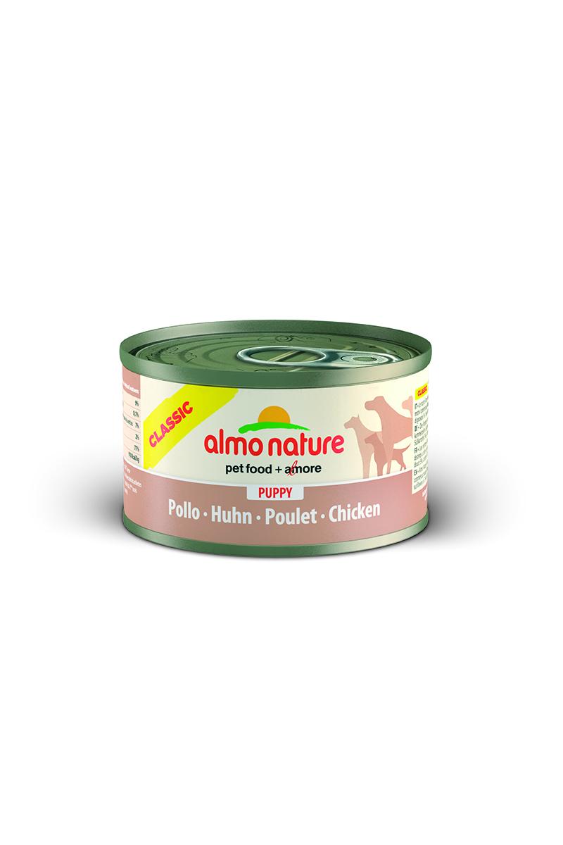 Консервы для щенков Almo Nature Classic, с курицей, 95 г0120710Консервы Almo Nature Classic - сбалансированный влажный корм для щенков, изготовленный из ингредиентов высшего качества, являющихся натуральными источниками витаминов и питательных веществ. Состав: мясо курицы – 45%, куриный бульон – 31%, рис – 6%.Гарантированный анализ: белки – 9%, клетчатка – 0,1%, жиры – 7%, зола – 2%, влажность – 77%.Калорийность - 910 ккал/кг.Товар сертифицирован.