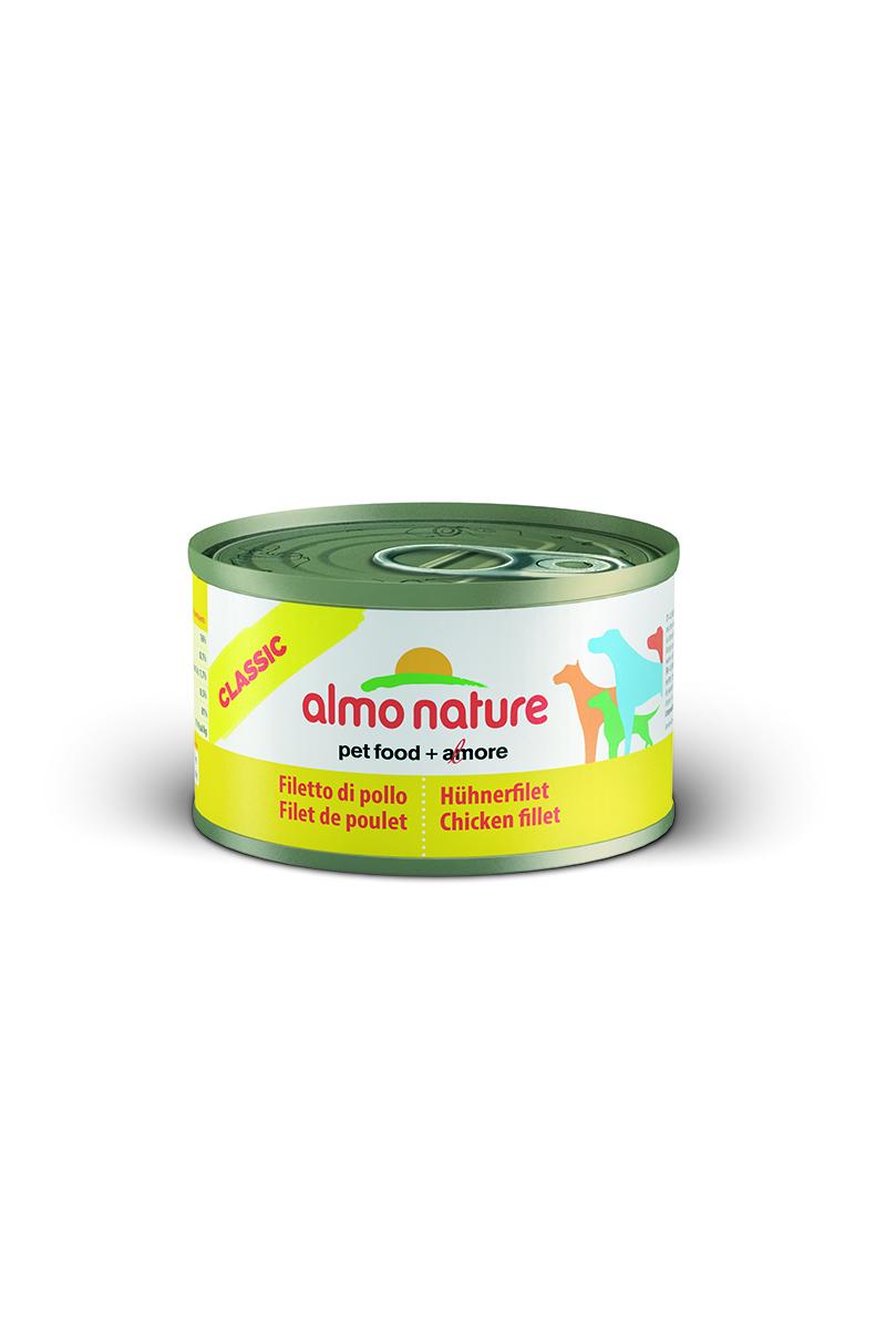 Консервы для собак Almo Nature Classic, с куриным филе, 95 г26492Консервы Almo Nature Classic - сбалансированный влажный корм для собак, изготовленный из ингредиентов высшего качества, являющихся натуральными источниками витаминов и питательных веществ. Состав: куриное филе - 50%, куриный бульон - 47%, рис - 3%.Гарантированный анализ: белки - 17%, клетчатка - 1%, жиры - 0,5%, зола - 3%, влажность - 81%.Калорийность - 637 ккал/кг.Товар сертифицирован.