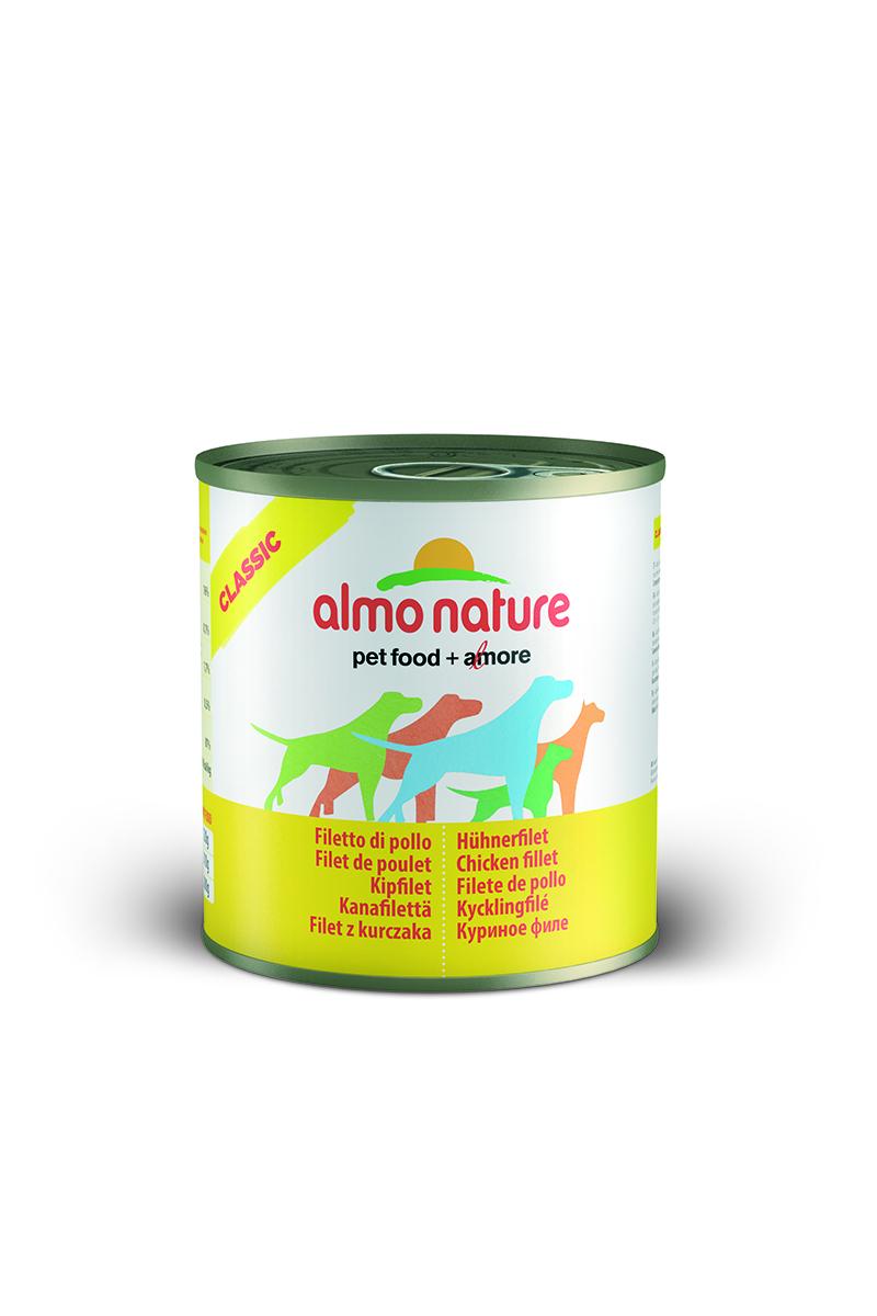 Консервы для собак Almo Nature Classic, с куриным филе, 280 г0120710Консервы Almo Nature Classic - сбалансированный влажный корм для собак, изготовленный из ингредиентов высшего качества, являющихся натуральными источниками витаминов и питательных веществ. Состав: куриное филе – 50%, куриный бульон – 47%, рис – 3%.Гарантированный анализ: белки – 17%, клетчатка – 1%, жиры – 0,5%, зола – 3%, влажность – 81%.Калорийность - 637 ккал/кг.Товар сертифицирован.