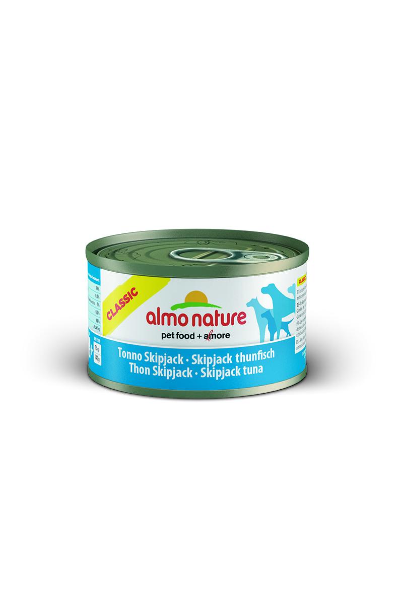 Консервы для собак Almo Nature Classic, с полосатым тунцом, 95 г0120710Консервы Almo Nature Classic - сбалансированный влажный корм для собак, изготовленный из ингредиентов высшего качества, являющихся натуральными источниками витаминов и питательных веществ.Состав: полосатый тунец - 50% мин., рис - 3% мин., гуаровая камедь - 0,2%, бульон из тунца. Гарантированный анализ: белки - 10%, клетчатка - 0,2%, жиры - 7%, зола - 0,5%, влажность - 80%. Калорийность - 532 ккал/кг.Товар сертифицирован.