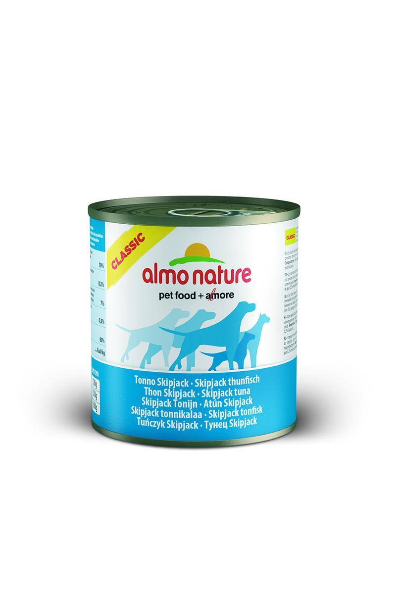 Консервы для собак Almo Nature Classic, с полосатым тунцом, 290 г10184Консервы Almo Nature Classic - сбалансированный влажный корм для собак, изготовленный из ингредиентов высшего качества, являющихся натуральными источниками витаминов и питательных веществ.Состав: полосатый тунец – 50% мин., рис – 3% мин., гуаровая камедь – 0,2%, бульон из тунца. Гарантированный анализ: белки – 10%, клетчатка – 0,2%, жиры – 7%, зола – 0,5%, влажность – 80%. Калорийность - 532 ккал/кг.Товар сертифицирован.