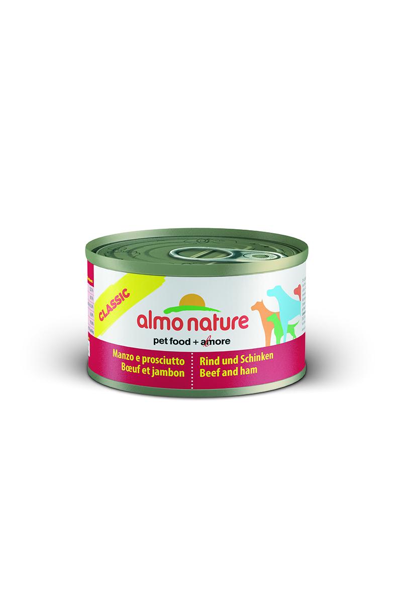 Консервы для собак Almo Nature Classic, с говядиной и ветчиной, 95 г0120710Консервы Almo Nature Classic - сбалансированный влажный корм для собак, изготовленный из ингредиентов высшего качества, являющихся натуральными источниками витаминов и питательных веществ. Состав: вырезка говядины - 45% мин., ветчина - 5% мин., рис - 3% мин., гуаровая камедь - 0,2%, говяжий бульон.Гарантированный анализ: белки - 12%, клетчатка - 0,2%, жиры - 9%, зола - 0,5%, влажность - 76%.Калорийность - 1500 ккал/кг.Товар сертифицирован.