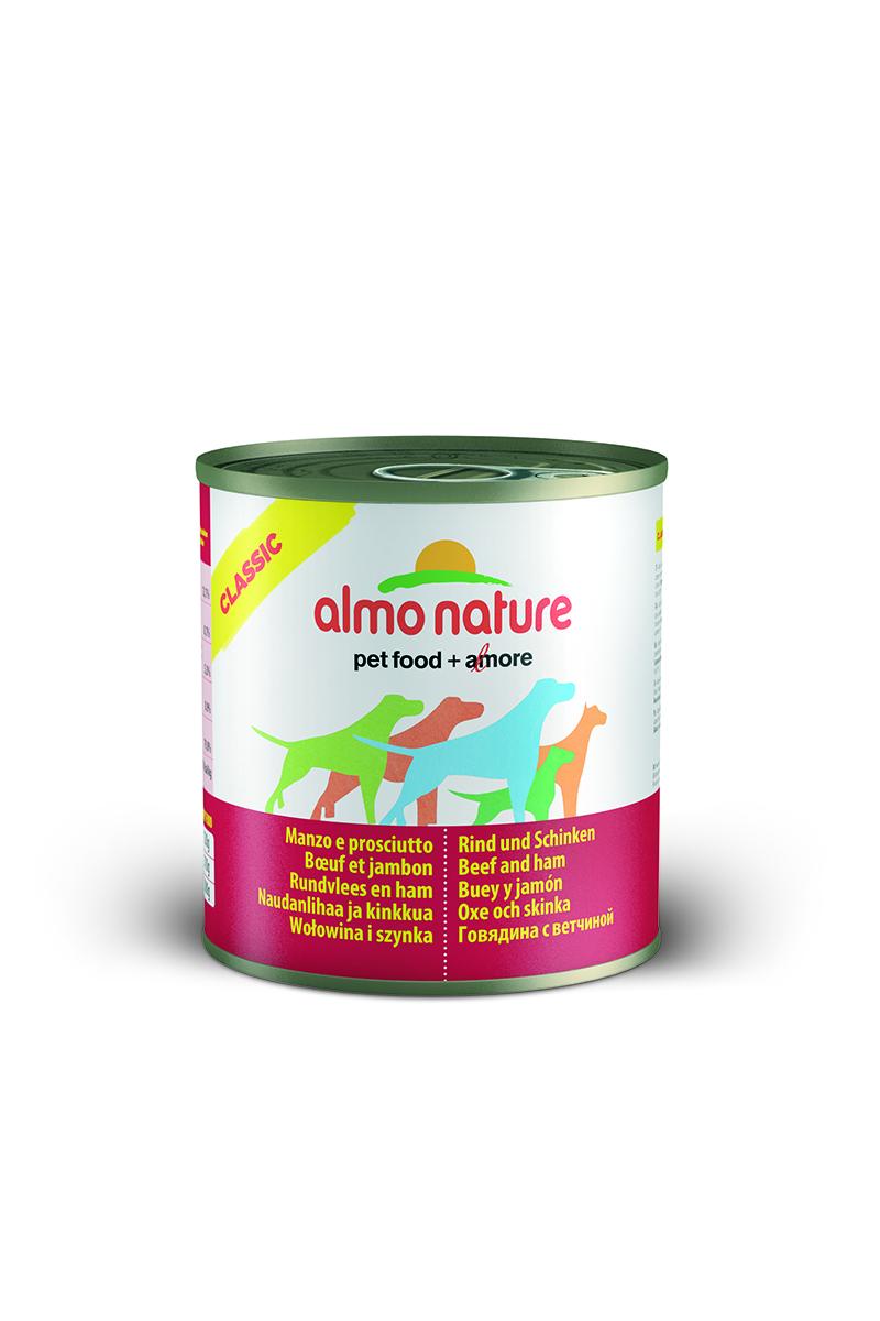 Консервы для собак Almo Nature Classic, с говядиной и ветчиной, 290 г0120710Консервы Almo Nature Classic - сбалансированный влажный корм для собак, изготовленный из ингредиентов высшего качества, являющихся натуральными источниками витаминов и питательных веществ. Состав: вырезка говядины – 45% мин., ветчина – 5% мин., рис – 3% мин., гуаровая камедь – 0,2%, говяжий бульон.Гарантированный анализ: белки – 12%, клетчатка – 0,2%, жиры – 9%, зола – 0,5%, влажность – 76%.Калорийность - 1500 ккал/кг.Товар сертифицирован.