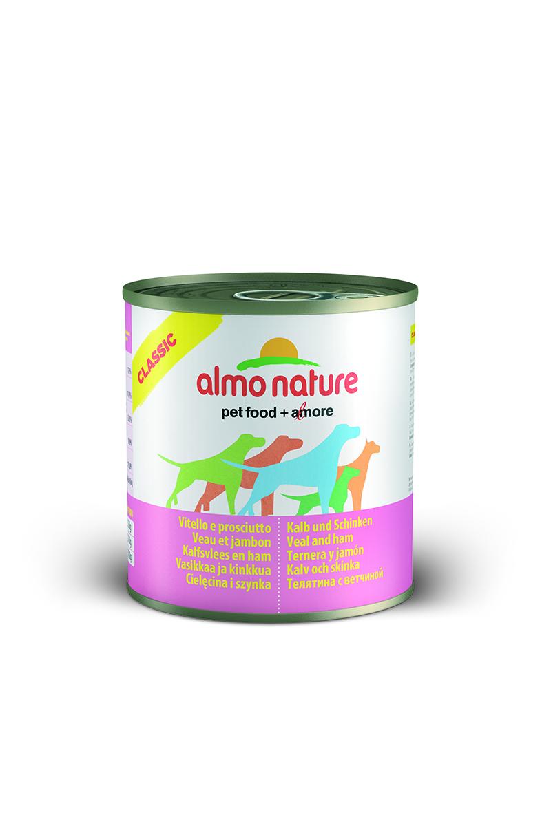 Консервы для собак Almo Nature Classic, с телятиной и ветчиной, 290 г0120710Консервы Almo Nature Classic - сбалансированный влажный корм для собак, изготовленный из ингредиентов высшего качества, являющихся натуральными источниками витаминов и питательных веществ. Состав: вырезка телятины – 45% мин., ветчина – 5% мин., рис – 3% мин., гуаровая камедь – 0,2%, телячий бульон.Гарантированный анализ: белки – 12%, клетчатка – 0,2%, жиры – 9%, зола – 0,5%, влажность – 76%.Калорийность - 1500 ккал/кг.Товар сертифицирован.