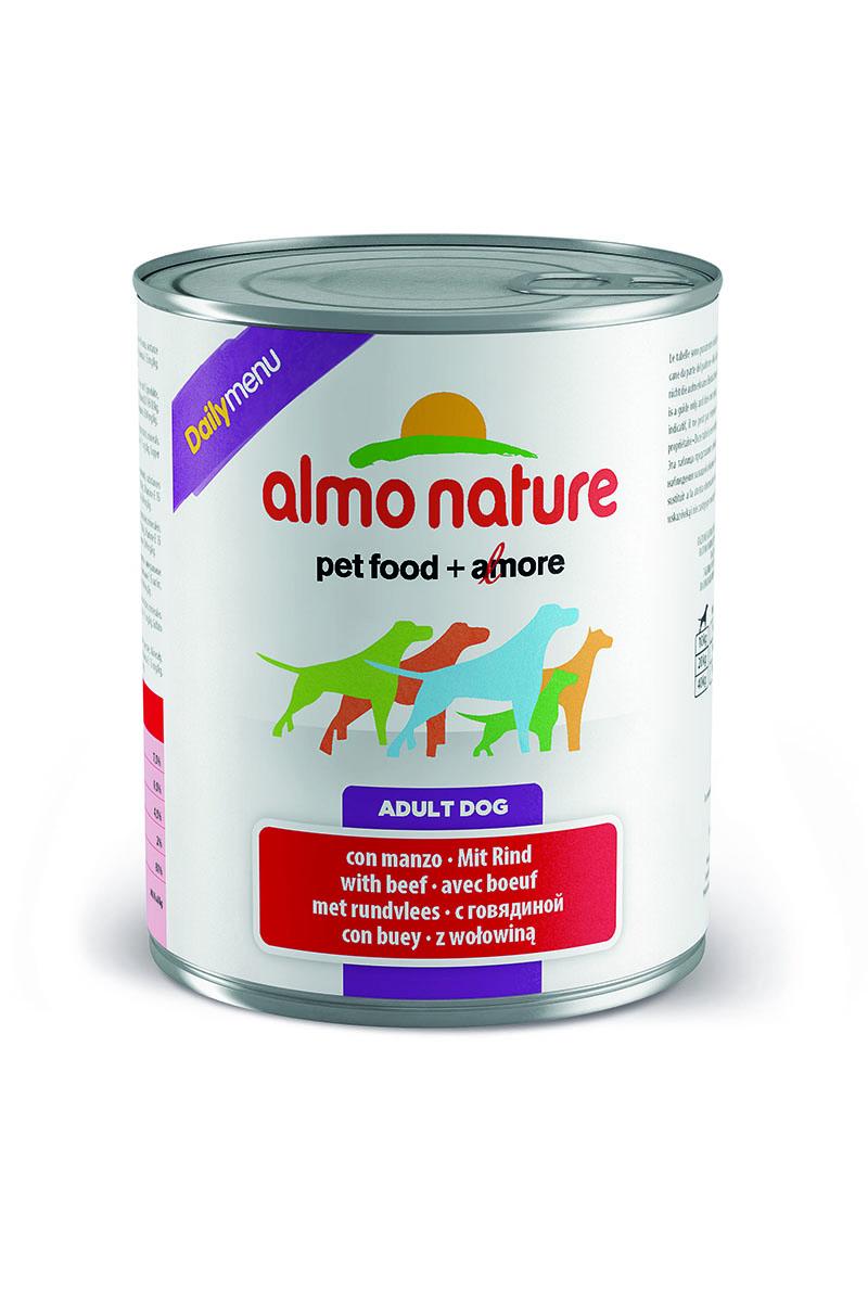 Консервы для собак Almo Nature Daily Menu, с говядиной, 800 г0120710Консервы Almo Nature Daily Menu - сбалансированный влажный корм для собак, изготовленный изингредиентов высшего качества, являющихся натуральными источниками витаминов ипитательных веществ. Состав: мясо и его производные (говядина), яйца, злаки, минералы.Пищевые добавки: витамин А 1570 МЕ/кг, витамин D3 195 МЕ/кг, витамин Е 15 мг/кг, сульфатмеди пентагидрат 7.6 мг/кг (CU1,9 мг/кг), камедь кассии 3000 мг/кг.Гарантированные анализ: белки – 7,5%, клетчатка – 0,5%, жиры – 4,5%, зола – 2%, влага – 81%.Калорийность: 1100 ккал/кг.Товар сертифицирован.