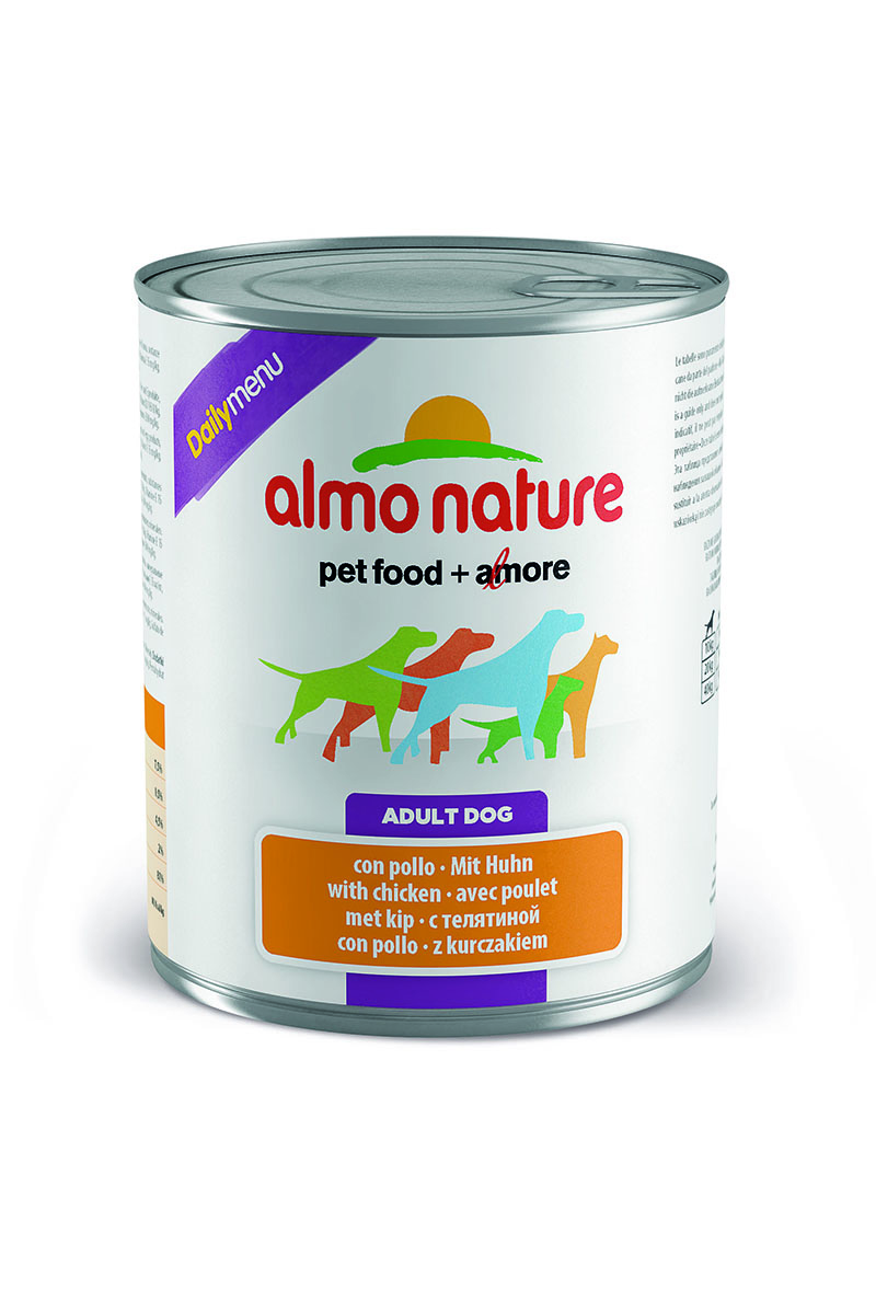 Консервы для собак Almo Nature Daily Menu, с курицей, 800 г10230Консервы Almo Nature Daily Menu - сбалансированный влажный корм для собак, изготовленный из ингредиентов высшего качества, являющихся натуральными источниками витаминов и питательных веществ. Состав: мясо и его производные (из них мясо курицы не менее 4%), зерновые, экстракт растительных белков, минералы.Пищевые добавки: витамин D3 709 МЕ/кг, витамин E 424 мг/кг.Гарантированные анализ: белки - 10%, клетчатка 0,5%, жиры - 5%, зола - 2,5%, влага - 81%.Калорийность - 890 ккал/кг.Товар сертифицирован.