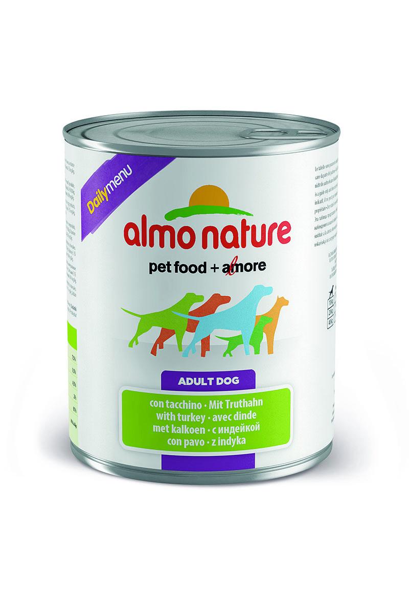 Консервы для собак Almo Nature Daily Menu, с индейкой, 800 г10231Консервы Almo Nature Daily Menu - сбалансированный влажный корм для собак, изготовленный из ингредиентов высшего качества, являющихся натуральными источниками витаминов и питательных веществ. Состав: мясо и его производные (индейка 4%), злаки, яйца и яичные продукты, минеральные вещества. Пищевые добавки: витамин А 1570 МЕ/кг, витамин D3 195 МЕ/кг, витамин Е 15 мг/кг, сульфат меди пентагидрат 7.6 мг/кг (CU1,9 мг/кг), камедь кассии 3000 мг/кг.Гарантированные анализ: белки – 7,5%, клетчатка – 0,5%, жиры – 4,5%, зола – 2%, влага – 81%.Калорийность – 1100 ккал/кг.Товар сертифицирован.