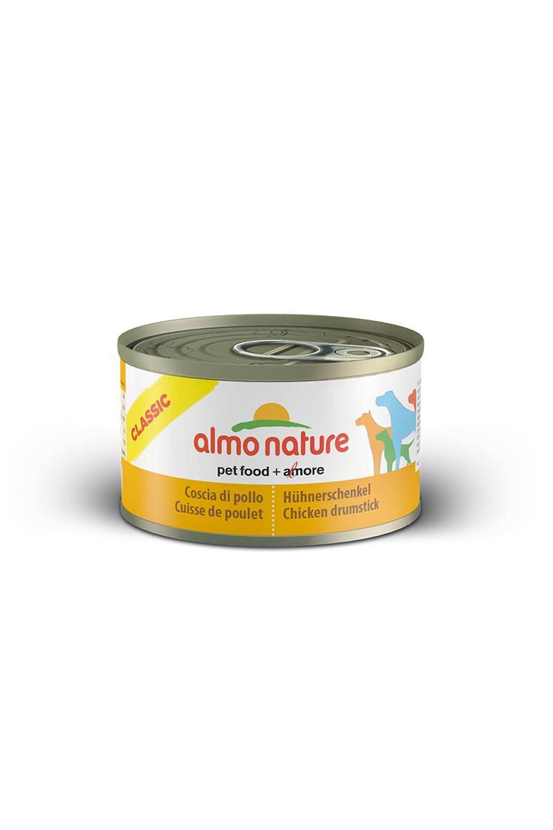Консервы для собак Almo Nature Classic, куриные бедрышки, 95 г10115Консервы Almo Nature Classic - сбалансированный влажный корм для собак, изготовленный из ингредиентов высшего качества, являющихся натуральными источниками витаминов и питательных веществ. Состав: куриные бедрышки 55%, бульон 42%, рис 3%. Пищевая ценность: белки 13,3%, клетчатка 0,1%, жиры 3,8%, зола 0,5%, влажность 79%. Калорийность: 894 ккал/кг.Товар сертифицирован.