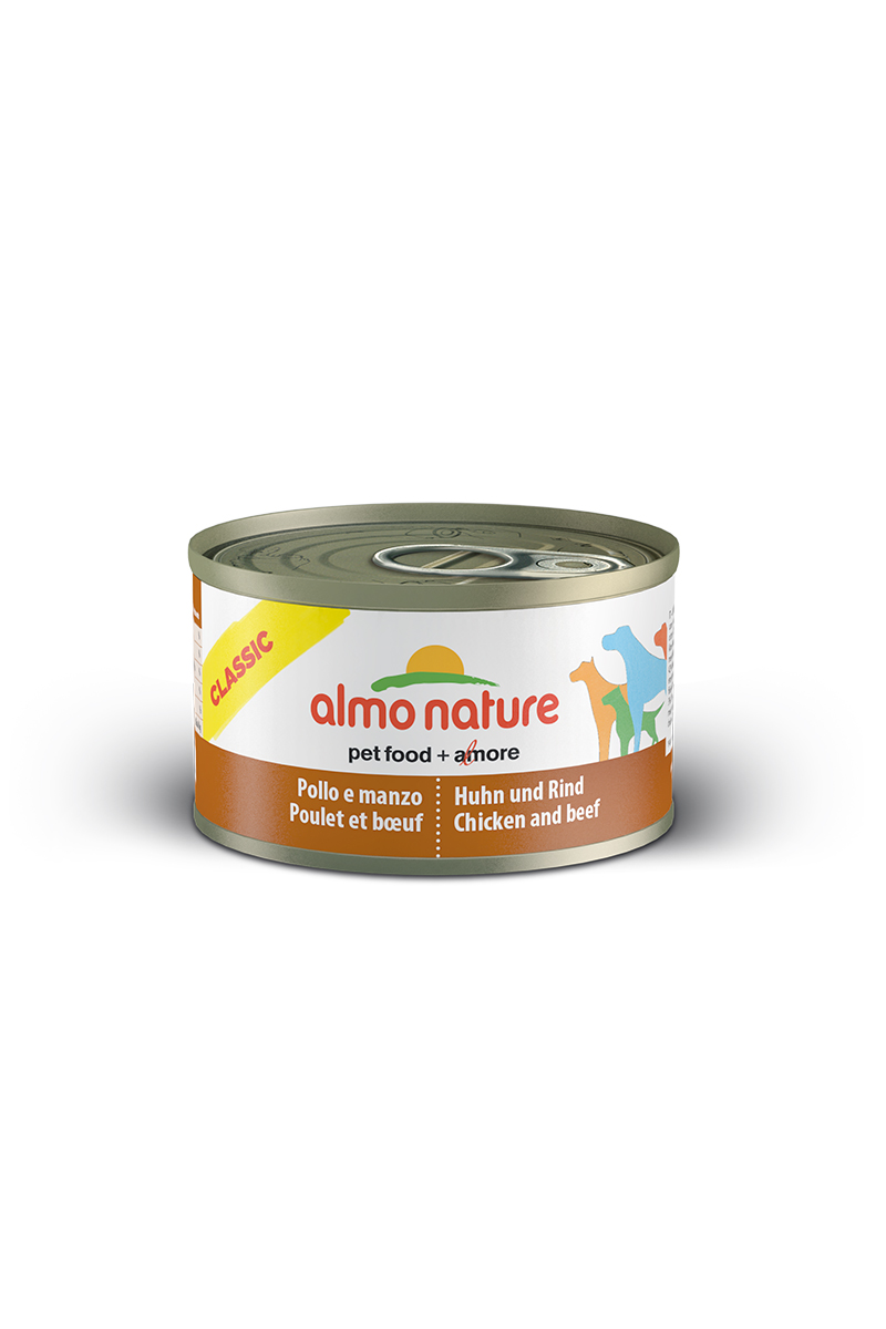 Консервы для собак Almo Nature Classic, с курицей и говядиной, 95 г0120710Консервы Almo Nature Classic - сбалансированный влажный корм для собак, изготовленный из ингредиентов высшего качества, являющихся натуральными источниками витаминов и питательных веществ. Состав: бульон - 42%, курица - 27,5%, говядина - 27,5%, рис - 3%. Пищевая ценность: белки - 15,1%, клетчатка - 0,1%, жиры - 5.1%, зола - 0,7%, влажность - 75%. Калорийность: 1021ккал/кг.Товар сертифицирован.