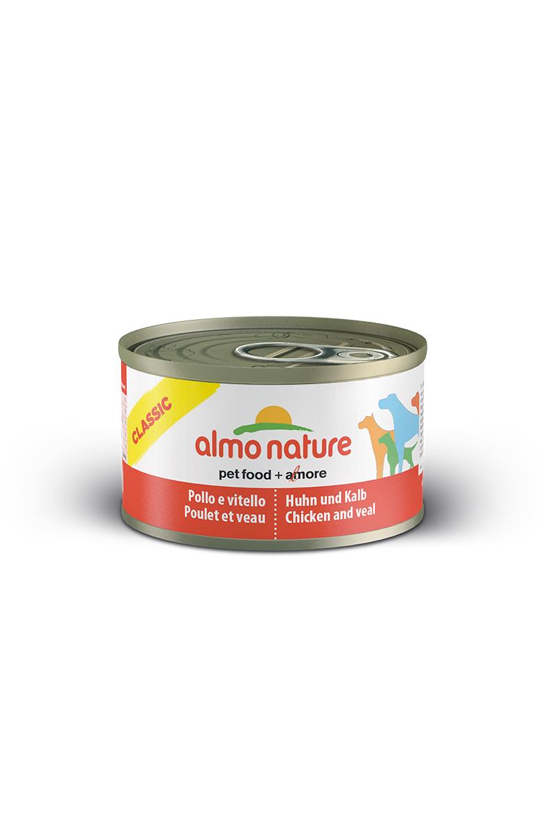 Консервы для собак Almo Nature Classic, с курицей и телятиной, 95 г10359Консервы Almo Nature Classic - сбалансированный влажный корм для собак, изготовленный из ингредиентов высшего качества, являющихся натуральными источниками витаминов и питательных веществ. Состав: бульон - 42%, курица - 27,5%, телятина - 27,5%, рис - 3%. Пищевая ценность: белки - 15%, клетчатка - 0,1%, масла и жиры - 5,1%, зола - 0,7%, влажность - 75%. Калорийность - 1021ккал/кг.Товар сертифицирован.