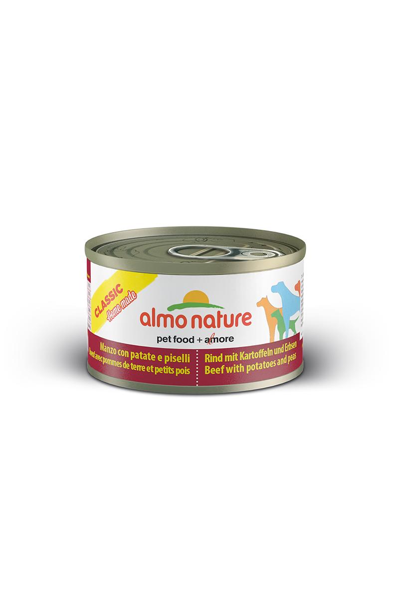 Консервы для собак Almo Nature Classic, говядина с картофелем и горошком по-домашнему, 95 г59318Консервы Almo Nature Classic - сбалансированный влажный корм для собак, изготовленный из ингредиентов высшего качества, являющихся натуральными источниками витаминов и питательных веществ. Состав: говядина 35%, бульон 33%, горох 15%, картофель 14%, крахмал 2%, рис 1%.Пищевая ценность: белки 9,7%, клетчатка 0,1%, масла и жиры 3,7%, зола 0,8%, влажность 78,1%. Калорийность: 924 ккал/кг.Товар сертифицирован.