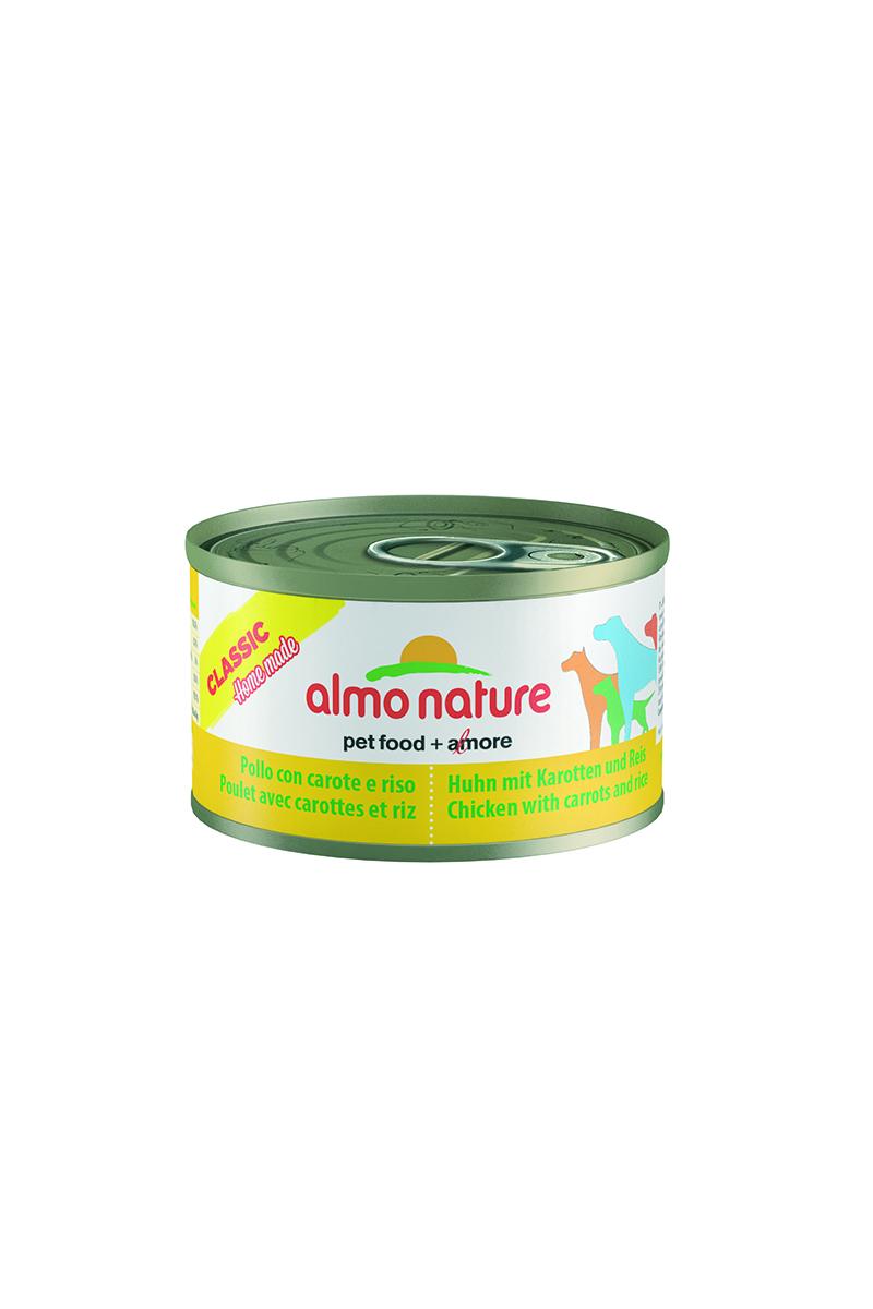 Консервы для собак Almo Nature Classic, курица с морковью и рисом по-домашнему, 95 г9188Консервы Almo Nature Classic - сбалансированный влажный корм для собак, изготовленный из ингредиентов высшего качества, являющихся натуральными источниками витаминов и питательных веществ. Состав: бульон 48%, курица 35%, морковь 10%, рис 5%, крахмал 2%. Пищевая ценность: белки 10,5%, клетчатка 0,1%, масла и жиры 3%, зола 0,5%, влажность 78,5%. Калорийность: 875 ккал/кг.Товар сертифицирован.