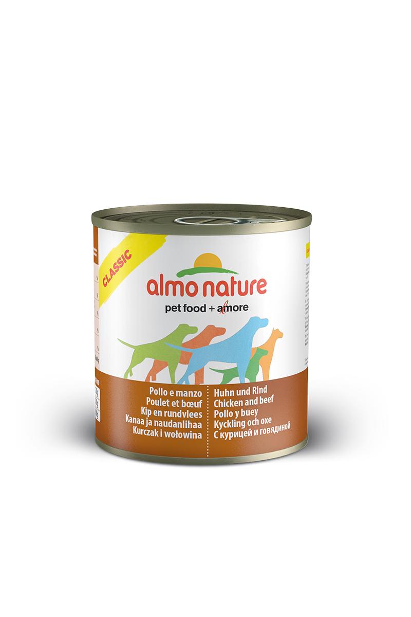 Консервы для собак Almo Nature Classic, с курицей и говядиной, 280 г0120710Консервы Almo Nature Classic - сбалансированный влажный корм для собак, изготовленный изингредиентов высшего качества, являющихся натуральными источниками витаминов ипитательных веществ. Состав: бульон - 42%, курица - 27,5%, говядина - 27,5%, рис - 3%. Пищевая ценность: белки - 15,1%, клетчатка - 0,1%, жиры - 5.1%, зола - 0,7%, влажность - 75%. Калорийность: 1021ккал/кг.Товар сертифицирован.