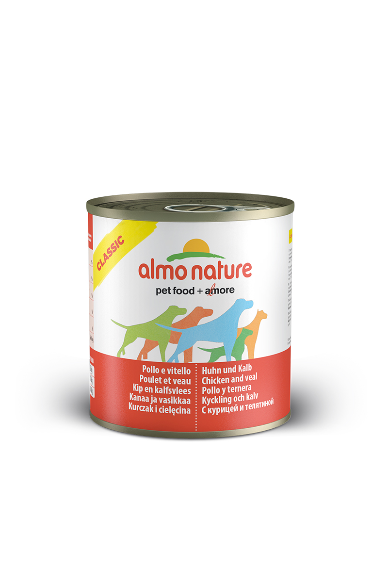 Консервы для собак Almo Nature Classic, с курицей и телятиной, 280 г10364Консервы Almo Nature Classic - сбалансированный влажный корм для собак, изготовленный изингредиентов высшего качества, являющихся натуральными источниками витаминов ипитательных веществ. Состав: бульон - 42%, курица - 27,5%, телятина - 27,5%, рис - 3%. Пищевая ценность: белки - 15%, клетчатка - 0,1%, масла и жиры - 5,1%, зола - 0,7%, влажность -75%. Калорийность - 1021ккал/кг.Товар сертифицирован.