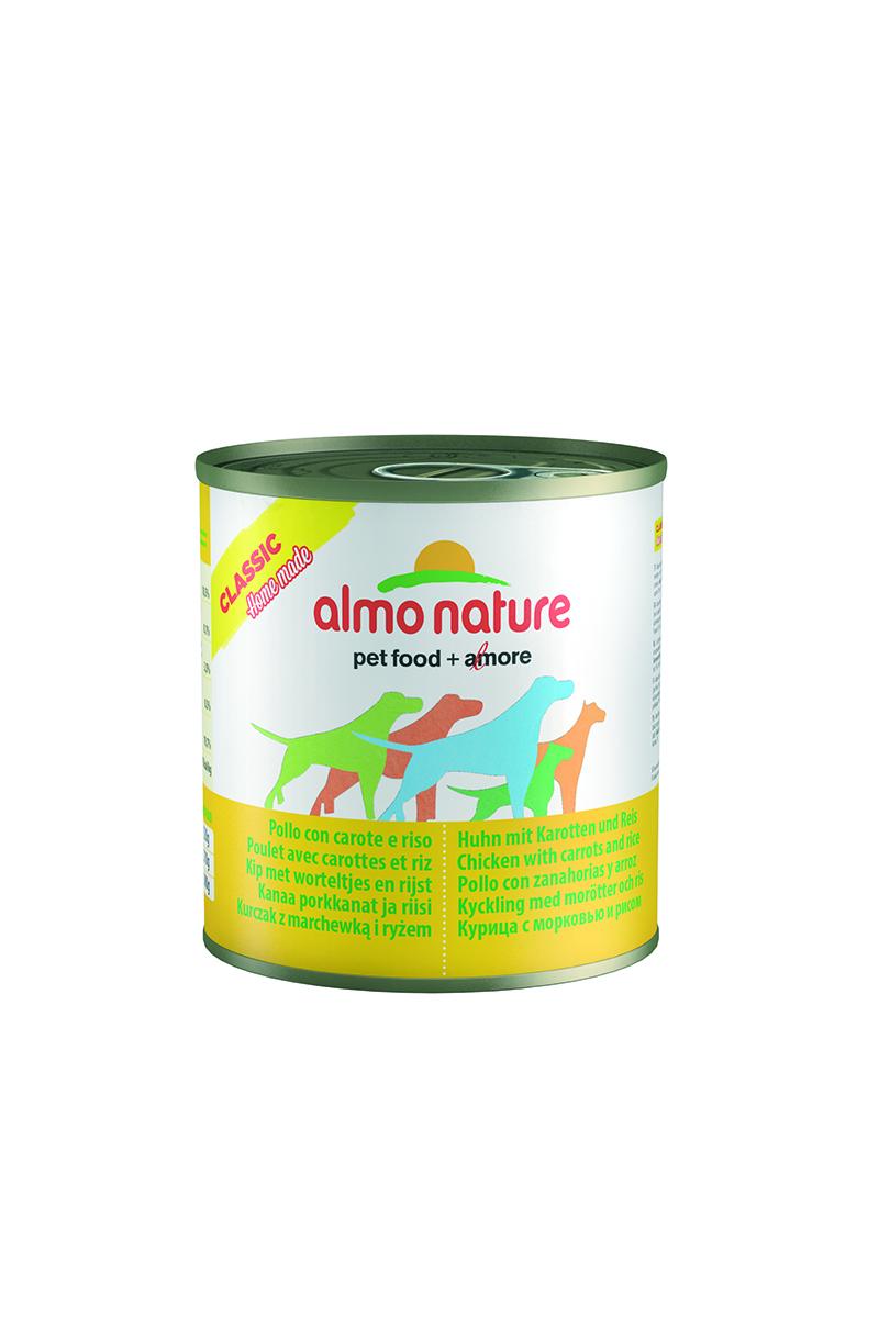 Консервы для собак Almo Nature Classic, курица с морковью и рисом по-домашнему, 280 г0120710Консервы Almo Nature Classic - сбалансированный влажный корм для собак, изготовленный из ингредиентов высшего качества, являющихся натуральными источниками витаминов и питательных веществ. Состав: бульон 48%, курица 35%, морковь 10%, рис 5%, крахмал 2%. Пищевая ценность: белки 10,5%, клетчатка 0,1%, масла и жиры 3%, зола 0,5%, влажность 78,5%. Калорийность: 875 ккал/кг.Товар сертифицирован.