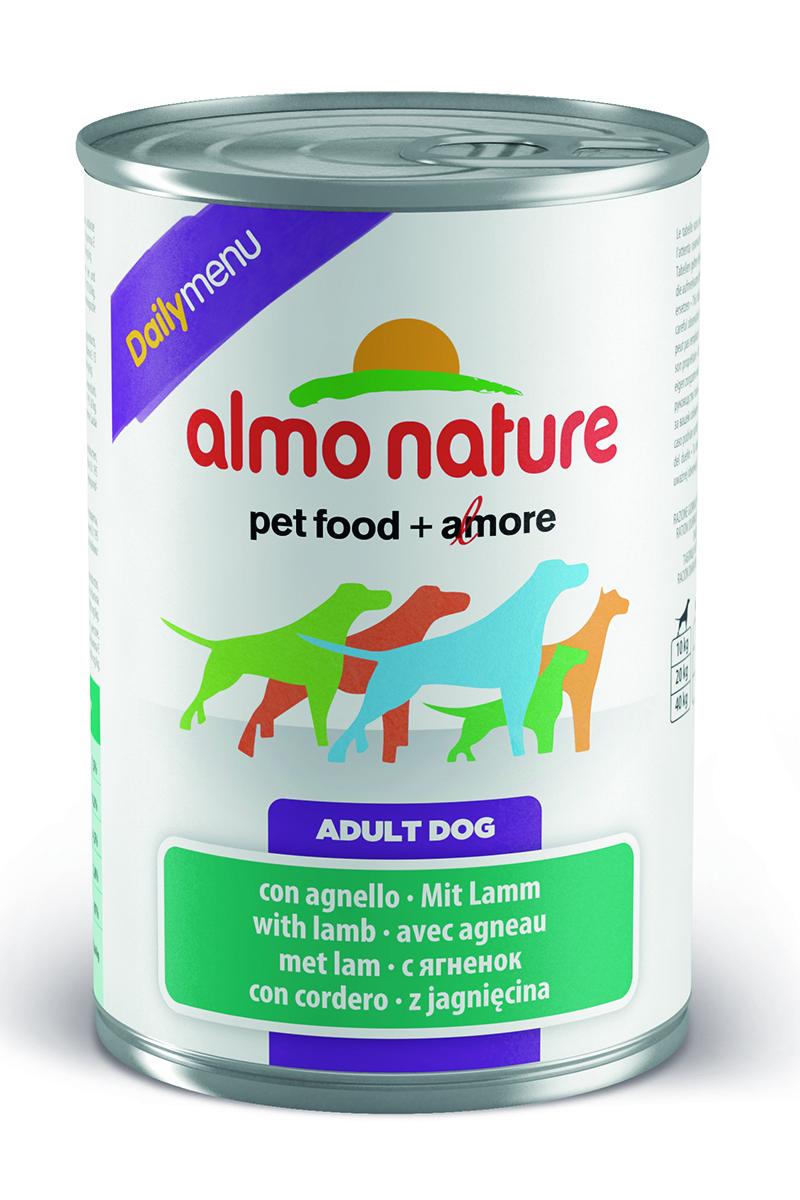 Консервы для собак Almo Nature Daily Menu, с ягненком, 400 г0120710Консервы Almo Nature Daily Menu - это супер-премиум корм для собак в банке с ключом, которая сохраняет свежесть каждого кусочка. Корм изготовлен только из свежих высококачественных натуральных ингредиентов, что обеспечивает здоровье вашей кошки. Не содержит химических, или каких-либо других искусственных ингредиентов.Состав: мясо и его производные (из которого ягненок 4%), злаки, яйца и яичные продукты, минералы. Пищевые добавки: витамин A 1570 IU/кг, витамин D3 195 IU/кг, витамин E 15 мг/кг, сульфат меди пентагидрат 7,6 мг/кг; технологические добавки: камедь кассии 3300 мг/кг. Пищевая ценность: белки 7,5%, клетчатка 0,2%, жиры 4,5%, зола 2.8%, влажность 81%. Калорийность: 802 ккал/кг.Товар сертифицирован.