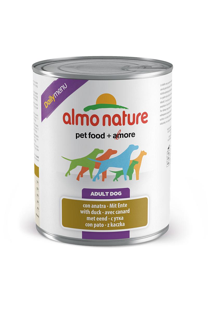Консервы для собак Almo Nature Daily Menu, с уткой, 800 г40224Консервы Almo Nature Daily Menu - это супер-премиум корм для собак в банке с ключом, которая сохраняет свежесть каждого кусочка. Корм изготовлен только из свежих высококачественных натуральных ингредиентов, что обеспечивает здоровье вашей кошки. Не содержит химических, или каких-либо других искусственных ингредиентов.Состав: мясо и его производные (из которых утка 4%), злаки, яйца и яичные продукты, минералы. Пищевые добавки: витамин A - 1570 IU/кг, витамин D3 - 195 IU/кг, витамин E - 15 мг/кг, сульфат меди пентагидрат - 7,6 мг/кг; технологические добавки: камедь кассии - 3300 мг/кг.Пищевая ценность: белки 7,5%, клетчатка 0,2%, жиры 4,5%, зола 2,8%, влажность 81%. Калорийность: 802 ккал/кг.Товар сертифицирован.