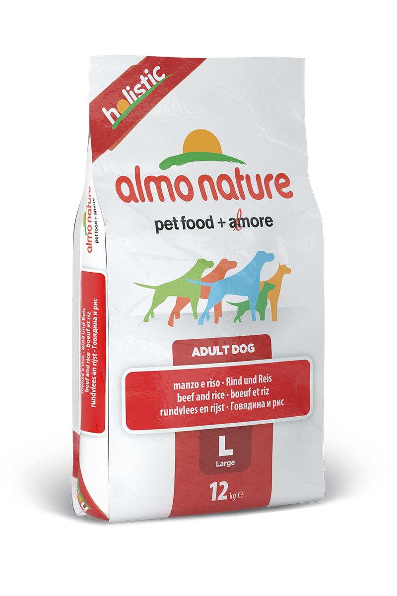 Корм сухой Almo Nature Holistic для взрослых собак крупных пород, с говядиной и коричневым рисом, 12 кг10376Полнорационный корм Almo Nature Holistic рекомендован для взрослых собак крупных пород. Корм содержит большой процент свежего мяса, что обеспечивает необходимым количеством питательных веществ и оптимальным содержанием протеина. Прекрасный вкус обеспечивается за счет свежих натуральных ингредиентов. Не содержит искусственных добавок, красителей, ароматизаторов, консервантов. Состав: мясо и его производные (26% свежей говядины ), злаки ( рис 14%), производные растительного происхождения (Инулин из цикория - источник ФОС-0.1%), экстракт растительного белка, масла и жиры, дрожжи, минералы, мананоолигосахариды, глюкозамин, хондроитин сульфат. Пищевые добавки: витамин A 22000 IU/кг, витамин D3 1400 IU/кг, витамин E 300 мг/кг, витамин B1 12 мг/кг, витамин B2 14 мг/кг, кальций-D-пантотенат 20 мг/кг, витамин B6 12 мг/кг, витамин B12 0,15 мг/кг, биотин 0,50 мг/кг, ниацин 25 мг/кг, фолиевая кислота 1 mg/ kg, L-карнитин 500 мг/кг,сульфат меди пентагидрат 32 мг/кг, меди хелат аминокислоты гидрат 33 мг/кг,кальция иодат 1,64 мг/кг, сульфат цинка моногидрат 222 мг/кг, цинк хелат гидрат аминокислоты 267 мг/кг, сульфат марганца моногидрат 20 мг/кг, органический селен 80 мг/кг. Пищевая ценность: белки - 26%, клетчатка - 3,5%, масла и жиры - 14%, зола - 8%, влажность - 8,5%. Калорийность: 3500 ккал/кг.Товар сертифицирован.