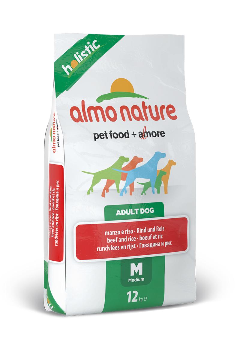 Корм сухой Almo Nature Holistic для взрослых собак средних пород, с говядиной и коричневым рисом, 12 кг0120710Полнорационный корм Almo Nature Holistic рекомендован для взрослых собак средних пород. Корм содержит большой процент свежего мяса, что обеспечивает необходимым количеством питательных веществ и оптимальным содержанием протеина. Прекрасный вкус обеспечивается за счет свежих натуральных ингредиентов. Не содержит искусственных добавок, красителей, ароматизаторов, консервантов. Состав: мясо и его производные (свежей говядины 26%), злаки (рис 14%), экстракт растительных белков, производные растительного происхождения (инулин из цикория- источник ФОС-0.1%), масла и жиры, дрожжи, минералы, маннаноолигосахариды. Добавки: витамин A 22000 IU/кг, витамин D3 1400 IU/кг, витамин E 300 мг/кг, витамин B1 12 мг/кг, витамин B2 14 мг/кг, кальций D-пантотенат 20 мг/кг, витамин B6 12 мг/кг, витамин B12 0,15 мг/кг, биотин 0,50 мг/кг, ниацин 25 мг/кг, фолиевая кислота 1 мг/кг, L-карнитин 100 мг/кг, сульфат пентагидрат меди 32 мг/кг, хелат меди аминокислоты гидрат 33 мг/кг, 3b203 1,64 мг/кг, моногидрат сульфата цинка 222 мг/кг, хелат цинка аминокислоты гидрат 267 мг/кг, моногидрат сульфата марганца 20 мг/кг, органический селен 80 мг/кг. Пищевая ценность: белки 25%, клетчатка 3,5%, масла и жиры 14%, зола 7,5%, влажность 8,5%. Калорийность: 3500 ккал/кг. Товар сертифицирован.Уважаемые клиенты! Обращаем ваше внимание на возможные изменения в дизайне упаковки. Качественные характеристики товара остаются неизменными. Поставка осуществляется в зависимости от наличия на складе.