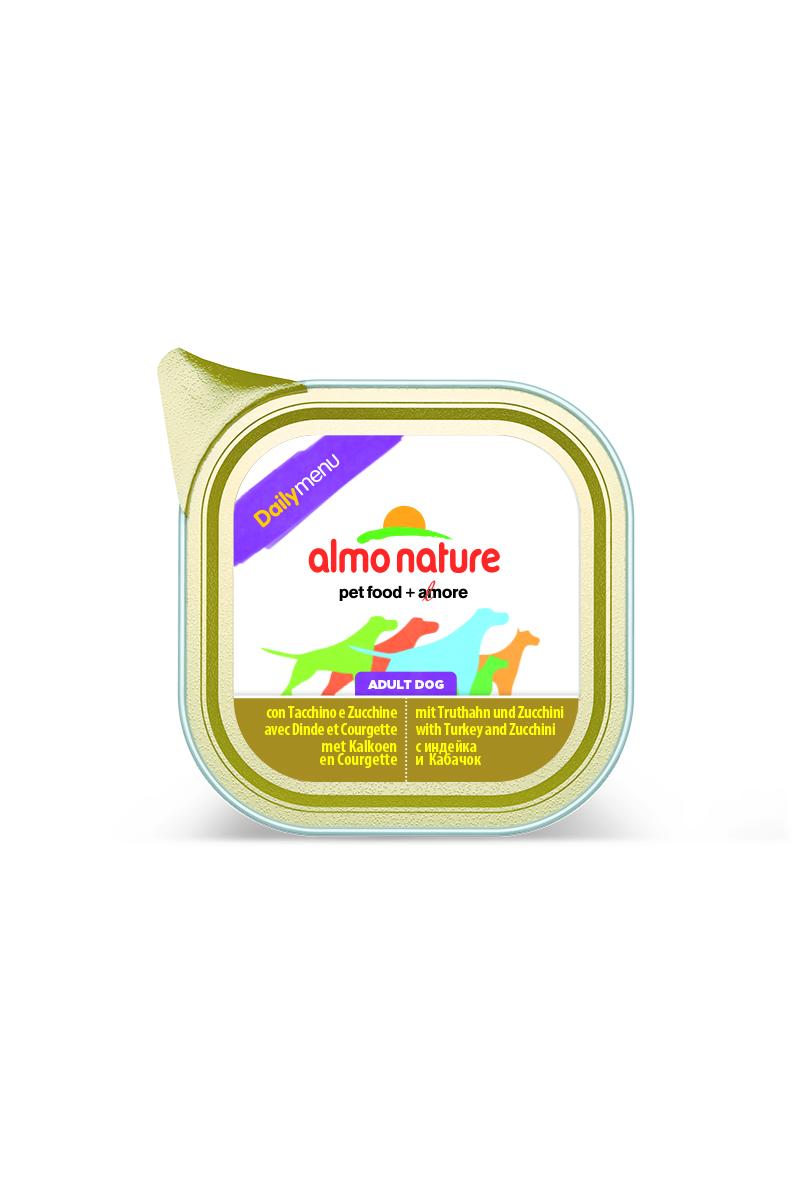 Консервы для собак Almo Nature Daily Menu, с индейкой и цуккини, 100 г19510Консервы Almo Nature Daily Menu - сбалансированный влажный корм для собак, изготовленный из ингредиентов высшего качества, являющихся натуральными источниками витаминов и питательных веществ. Состав: мясо и его производные (индейка 4%), овощи (цуккини 4%), минералы. Добавки: витамин D3 218 МЕ/кг, витамин E 125 мг/кг, витамин B1 62 мг/кг; камедь кассии 2853 мг/кг. Пищевая ценность: белки 10%, клетчатка 0,8%, жиры 5%, зола 2,5%, влажность 81%. Калорийность: 878 ккал/кг.Товар сертифицирован.