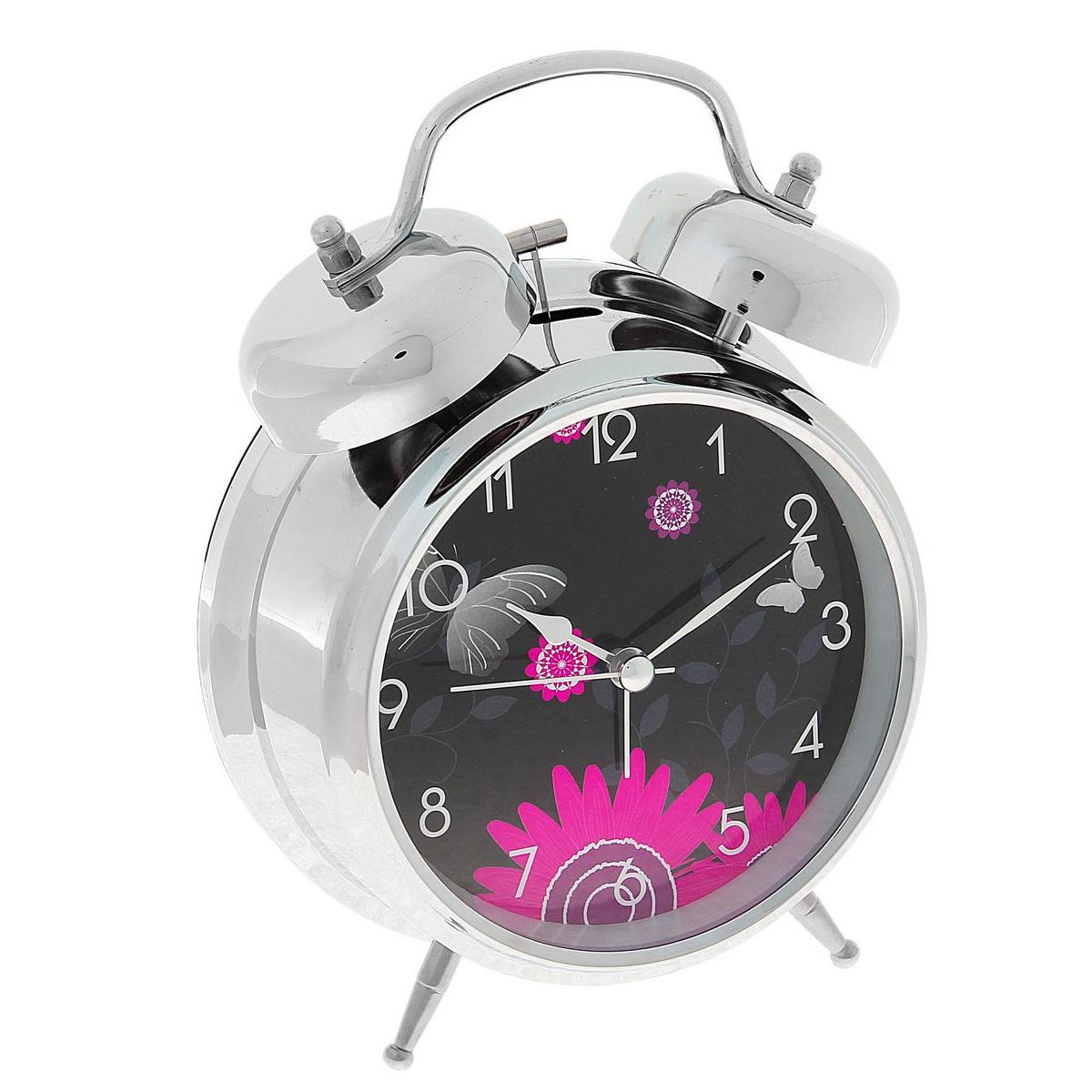Часы-будильник Sima-land Цветы. 720865AEG WE 4125 schwarzКак же сложно иногда вставать вовремя! Всегда так хочется поспать еще хотя бы 5 минут и бывает, что мы просыпаем. Теперь этого не случится! Яркий, оригинальный будильник Sima-land Цветы поможет вам всегда вставать в нужное время и успевать везде и всюду.Корпус будильника выполнен из металла. Циферблат имеет индикацию арабскими цифрами. Часы снабжены 4 стрелками (секундная, минутная, часовая и для будильника). На задней панели будильника расположен переключатель включения/выключения механизма, а также два колесика для настройки текущего времени и времени звонка будильника. Также будильник оснащен кнопкой, при нажатии которой подсвечивается циферблат.Пользоваться будильником очень легко: нужно всего лишь поставить батарейки, настроить точное время и установить время звонка. Необходимо докупить 2 батарейки типа АА (не входят в комплект).
