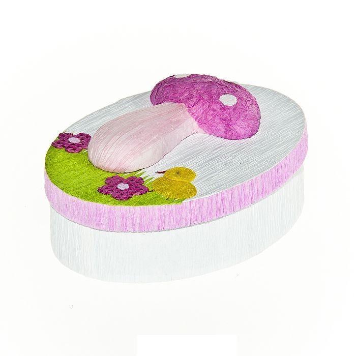 Шкатулка декоративная Весенняя, цвет: розовый, 10,5 х 8 х 4 см41619Овальная шкатулка Home Queen Весенняя изготовлена из бумаги.Шкатулка прекрасно подойдет для упаковки пасхального подарка для детей и взрослых