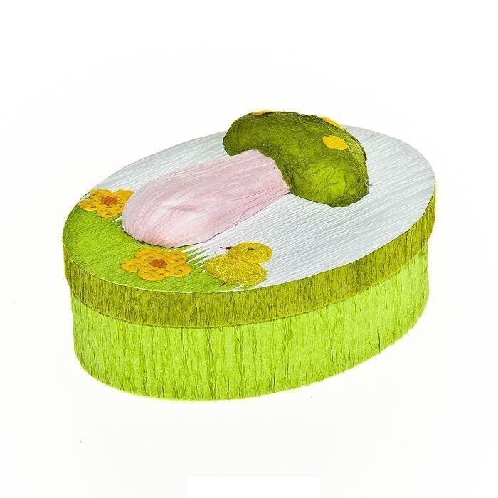 Шкатулка декоративная Весенняя, цвет: светло-зеленый, 10,5 см х 8 см х 4 см11474/3C TOONОвальная шкатулка Home Queen Весенняя изготовлена из бумаги.Шкатулка прекрасно подойдет для упаковки пасхального подарка для детей и взрослых