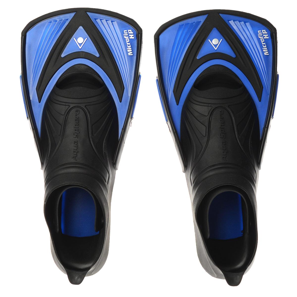 Ласты тренировочные Aqua Sphere Microfin HP, цвет: синий, черный. Размер 38/39TN 1003312 (549780)Aqua Sphere Microfin HP - это ласты для энергичной манеры плавания, предназначенные для серьезных спортивных тренировок. Уникальный дизайн ласт обеспечивает достаточное сопротивление воды для силовых тренировок и поддерживает ноги близко к поверхности воды - таким образом, пловец занимает правильное положение, гарантирующее максимальную обтекаемость. Особенности:Галоша с закрытой пяткой выполнена из прочного термопластика.Короткие лопасти удерживают ноги пловца близко к поверхности воды.Позволяют развивать силу мышц и поддерживать их в тонусе, одновременно совершенствуя технику плавания.