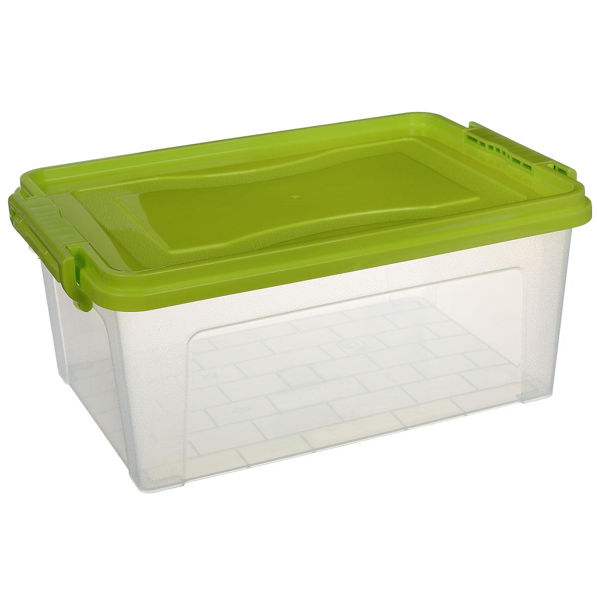 Контейнер для хранения Idea, прямоугольный, цвет: салатовый, прозрачный, 8,5 л74-0120Контейнер для хранения Idea выполнен из высококачественного пластика. Изделие оснащено двумя пластиковыми фиксаторами по бокам, придающими дополнительную надежность закрывания крышки. Вместительный контейнер позволит сохранить различные нужные вещи в порядке, а герметичная крышка предотвратит случайное открывание, защитит содержимое от пыли и грязи.Объем: 8,5 л.