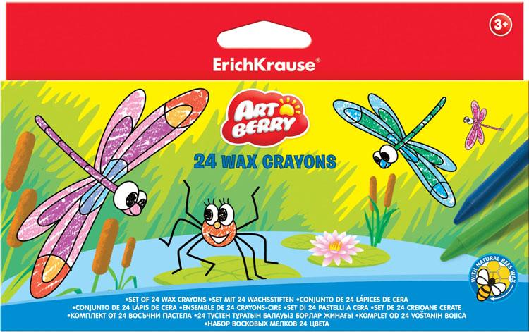 Мелки восковые Erich Krause Art Berry, 24 цвета33119Восковые мелки Erich Krause Art Berry содержит мелки 24 ярких насыщенных цветов и оттенков. Мелки обеспечивают удивительно мягкое письмо, обладают отличными кроющими свойствами. Не токсичны и абсолютно безопасны. Подходят для рисования на бумаге и картоне. Имеют специально разработанный состав на основе пчелиного воска. Восковые мелки Erich Krause Art Berry откроют юным художникам новые горизонты для творчества, а также помогут отлично развить мелкую моторику рук, цветовое восприятие, фантазию и воображение, способствуют самовыражению.