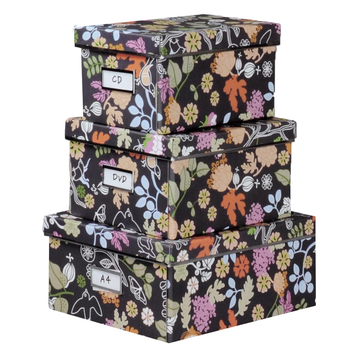 Набор коробок для хранения Цветущий сад, 3 штБрелок для ключейКофры для хранения Цветущий сад прекрасно подойдут для хранения личных вещей, различных аксессуаров, а также бытовых предметов. В комплекте 3 прямоугольных кофра разного размера, с крышками. Изделия выполнены из плотного картона, внешняя поверхность оформлена красочным цветочным рисунком. Каждая из коробок снабжена специальным окошком, куда можно поместить стикер с пометкой содержимого. Эстетичный дизайн позволит набору гармонично вписаться в любой интерьер.Размер малого кофра: 16 см х 28 см х 14 см. Размер среднего кофра: 21 см х 28 см х 15 см. Размер большого кофра: 25 см х 36 см х 15 см.