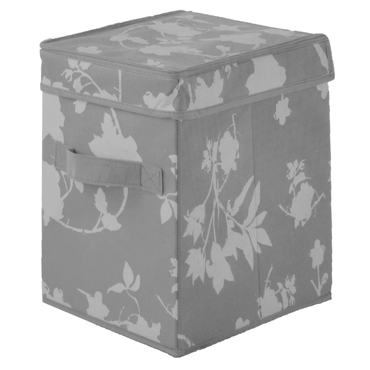Кофр для хранения Цветочные мотивы, цвет: серый, 19 см х 27 см х 27 смFS-6703Кофр для хранения Цветочные мотивы изготовлен из высококачественного нетканого материала, который позволяет сохранять естественную вентиляцию, а воздуху свободно проникать внутрь, не пропуская пыль. Предназначен для хранения белья и мелких вещей, оснащен крышкой. Благодаря специальным вставкам, кофр прекрасно держит форму, а эстетичный дизайн с красивым растительным узором гармонично смотрится в любом интерьере. Кофр оснащен ручкой, которая позволяет использовать его в качестве выдвижного ящика в гардеробе или шкафу. Мобильность конструкции обеспечивает легкое складывание и раскладывание.