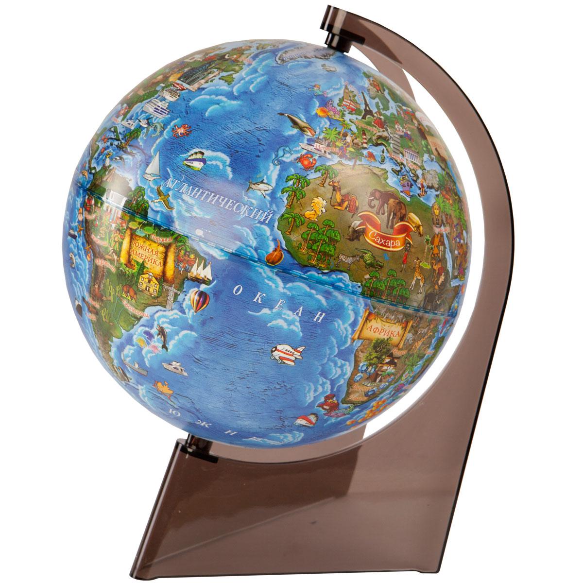 Глобус Земли для детей диаметр 210 мм на треугольной подставке, Глобусный мир
