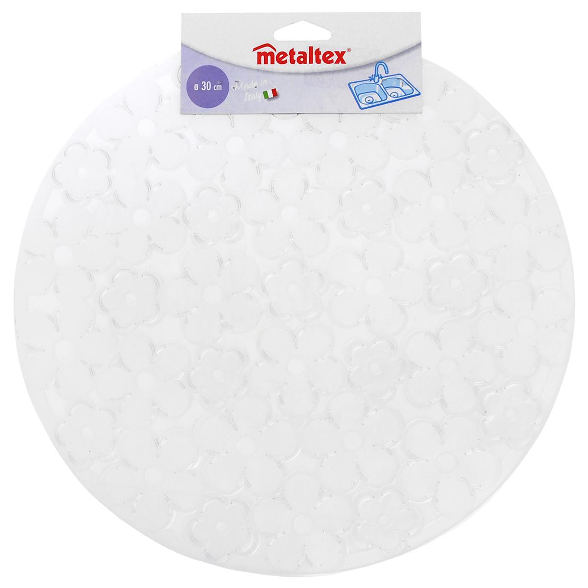 Коврик для раковины Metaltex, цвет: прозрачный, диаметр 30 см531-105Стильный и удобный коврик для раковины Metaltex выполнен из ПВХ. Он одновременно выполняет несколько функций: украшает, предотвращает появление на раковине царапин и сколов, защищает посуду от повреждений при падении в раковину, удерживает мусор, попадание которого в слив приводит к засорам. Изделие также обладает противоскользящим эффектом и может использоваться в качестве подставки для сушки чистой посуды. Легко очищается от грязи и жира.Диаметр: 30 см.