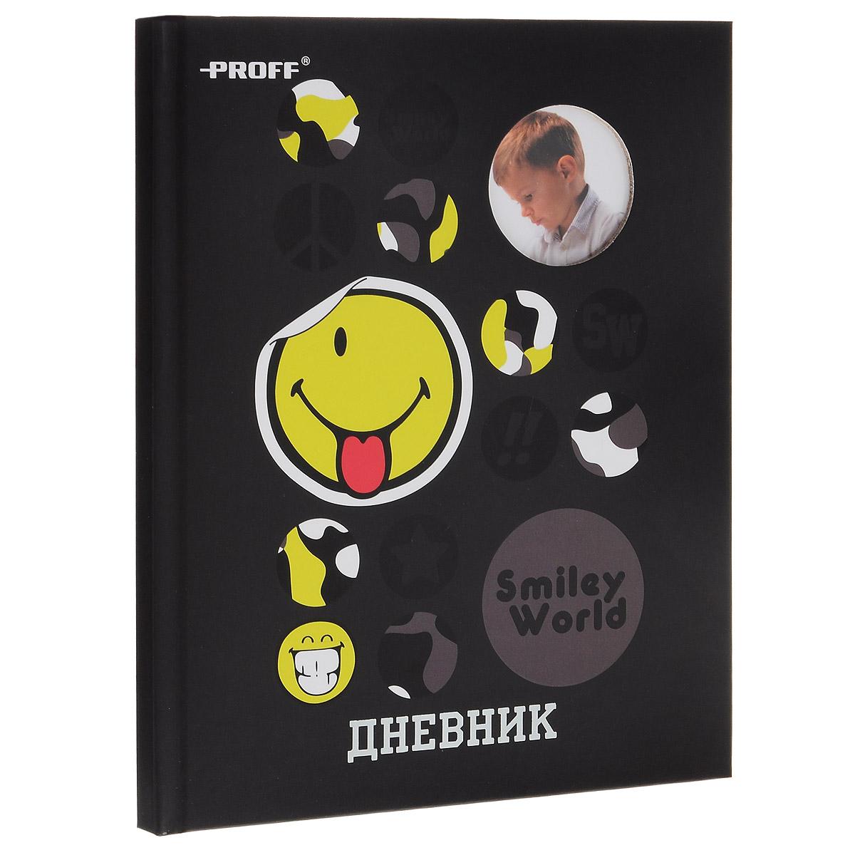 Стильный дневник Proff Smiley - обязательно понравится вашему ребенку. Он поможет ему не забыть свои задания, а вы всегда сможете проконтролировать его успеваемость. Обложка дневника дополнена круглым отверстием, куда можно вставить фото вашего ребенка. Обложка также декорирована глянцевыми изображениями разных смайликов. Внутренний блок выполнен из качественной бумаги кремового цвета с четкой линовкой темно-серого цвета. Дневник в твердом переплете из твердого ламинированного картона будет не только надежным помощником ученика в освоении новых знаний, но и принесет радость своему хозяину, выделяя его среди одноклассников и украшая учебные будни.